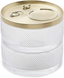 Umbra Tesora Jewelry Organizer, Two-Tier Storage Box, Glass/Brass