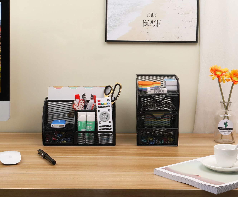 PAG Steel Mesh Desk Organizer Office Supplies Pen Holder 3-part orange