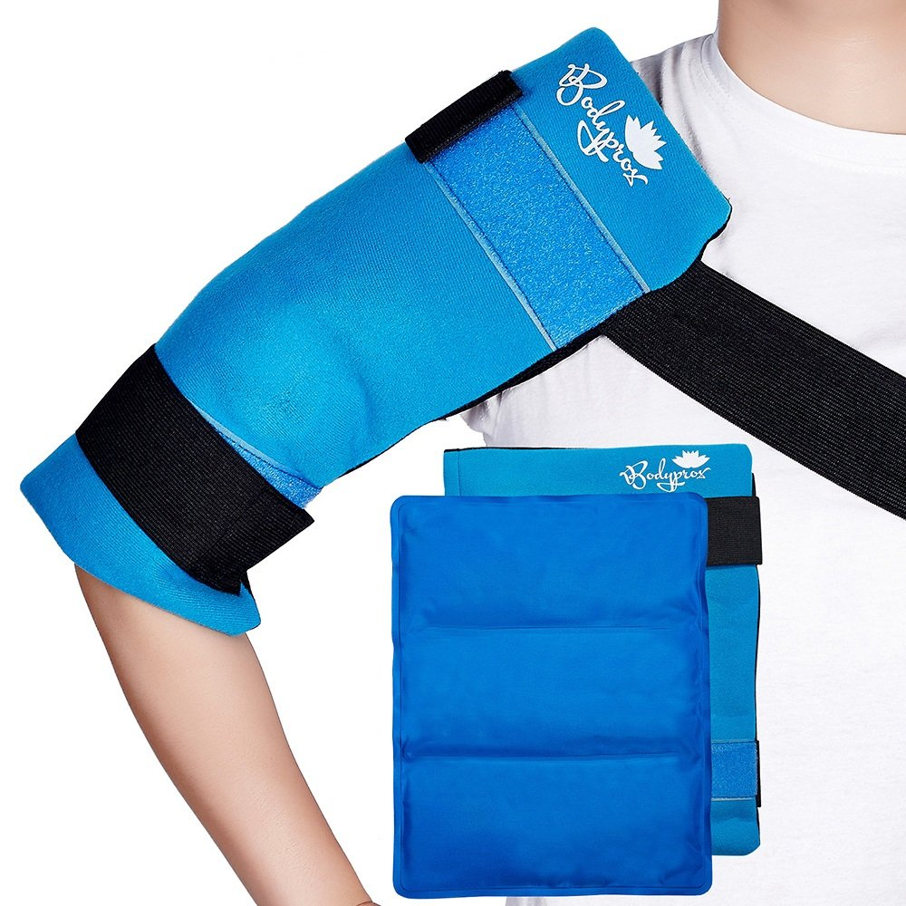 Flexible Large Gel Ice Pack for Shoulders, Arms, Back and Thighs. Hot & Cold Therapy Wrap by Bodyprox