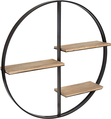 Kate and Laurel Ladd Round Floating Wood Wall Shelf with Black Metal Frame
