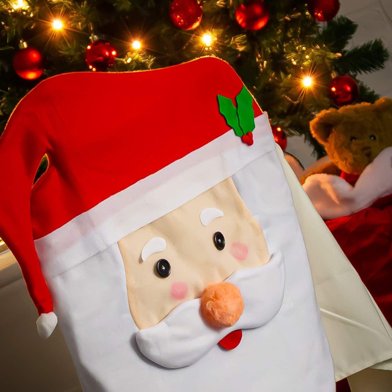 02 Piezas - Santa Claus com-four/® 2X Fundas de Silla Funda de Pap/á Noel decoraci/ón Detallada para Poner en la Silla para Navidad