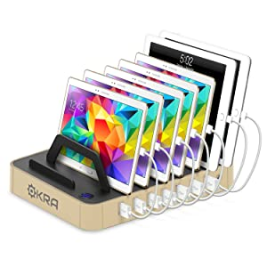 Okra 7-Port USB 16.8A Charging Station PRO [Most Powerful] Universal Desktop Tablet & Smartphone Multi-Device Hub Charging Dock for iPhone, iPad, Galaxy, Tablets [Charge 7 Tablets at Once] (Gold)