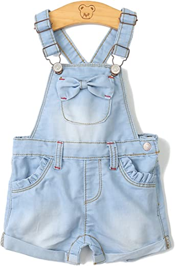 Kidscool Baby Girls//Boys Big Bibs Light Blue Slim Summer Jeans Shortalls
