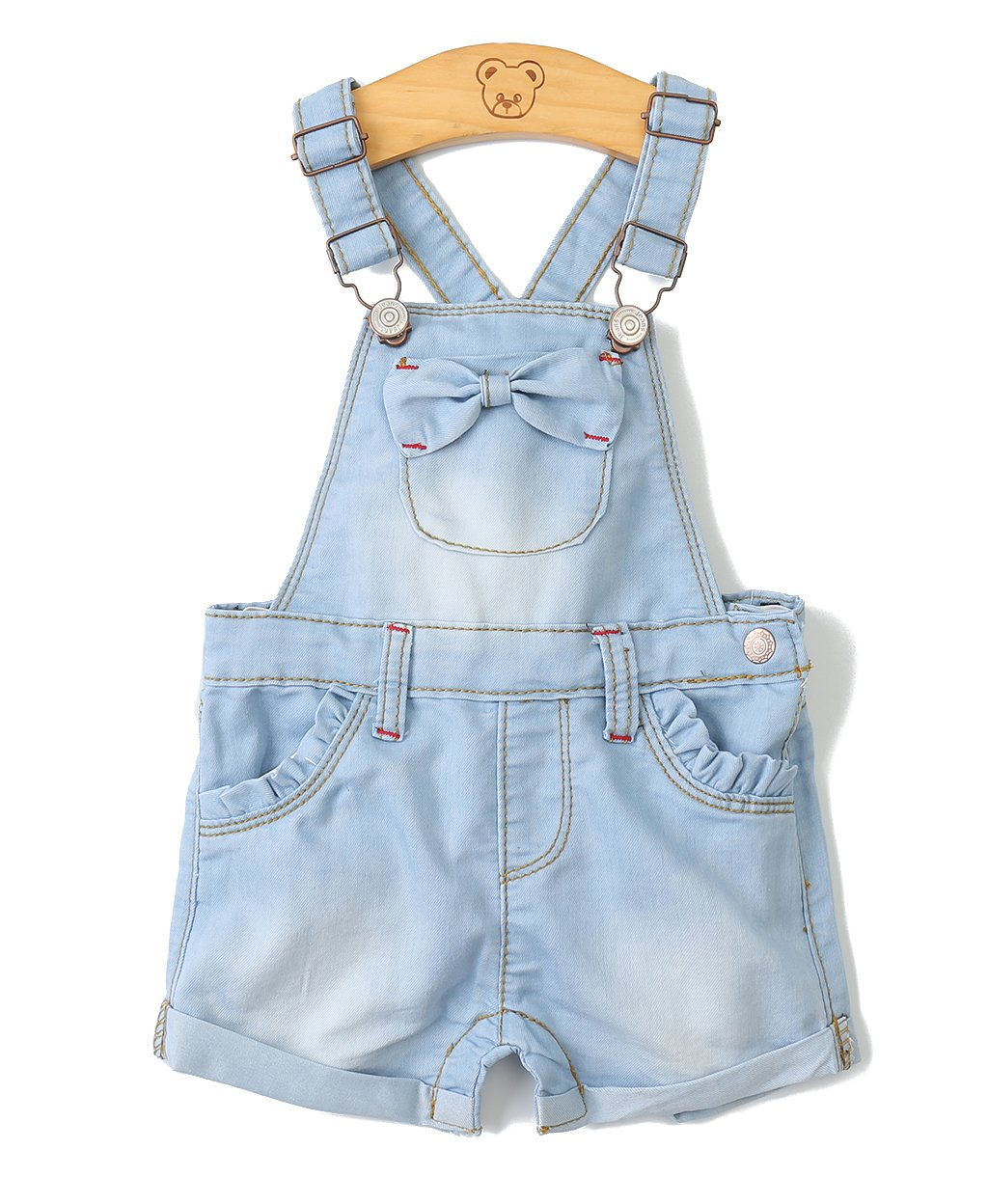 Kidscool Baby Girls Big Bibs Light Blue Summer Bowknot Jeans Shortalls,Light Blue,2-3 Years