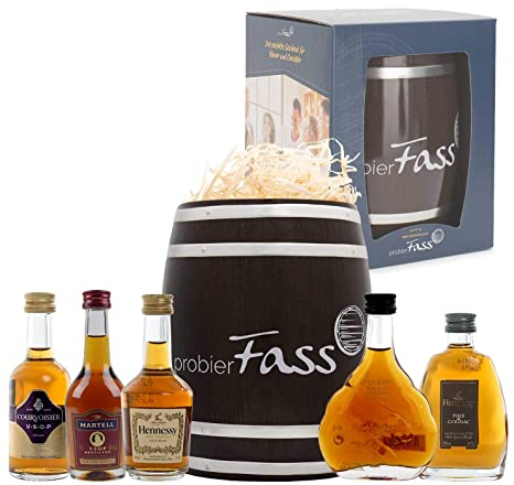 probierFass Cognac Geschenk   5 Cognacs (5 x 0.05 l) verpackt in einem originellen Fass mit Geschenkverpackung   Martell VSOP