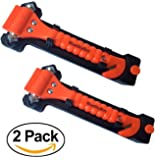 Value 2 Pack - Emergency Escape Tool Auto Car Window Glass Hammer Breaker and Seat Belt Cutter Escape 2-in-1 Tool by BlueSkyBos