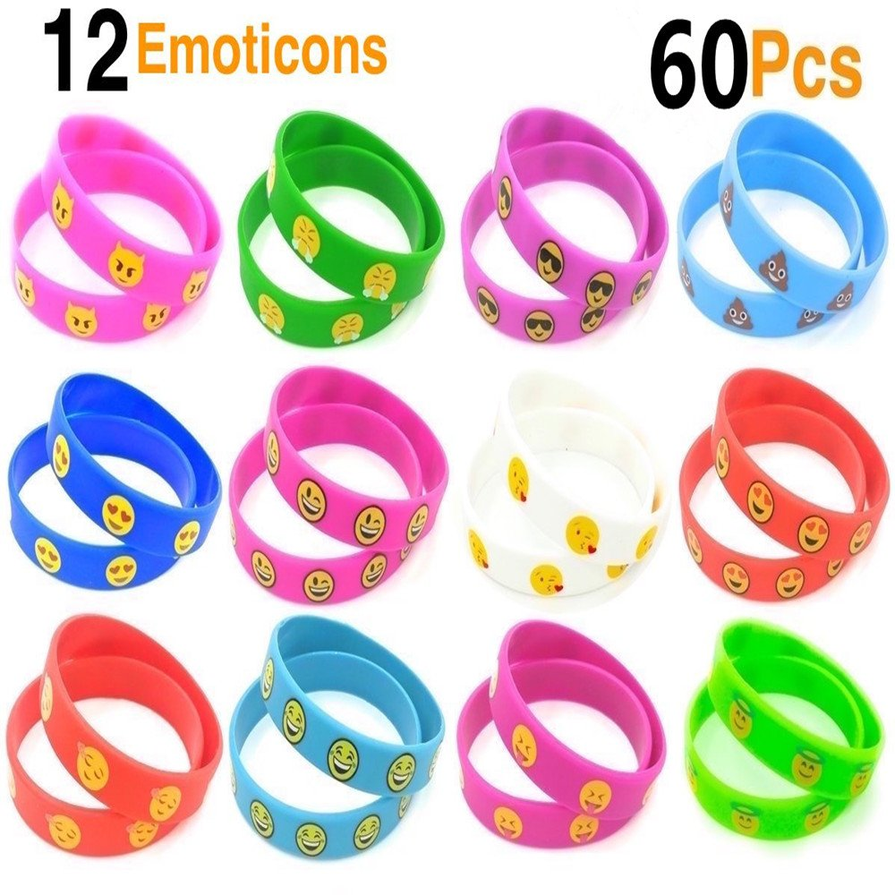 60 Pack Emoji Bracelet Silicone Emoticons Wristbands 10 Colors Emoji Bracelets Bulk Party Favors for for Kids and Adults Party Giveaways Prizes (Blue)