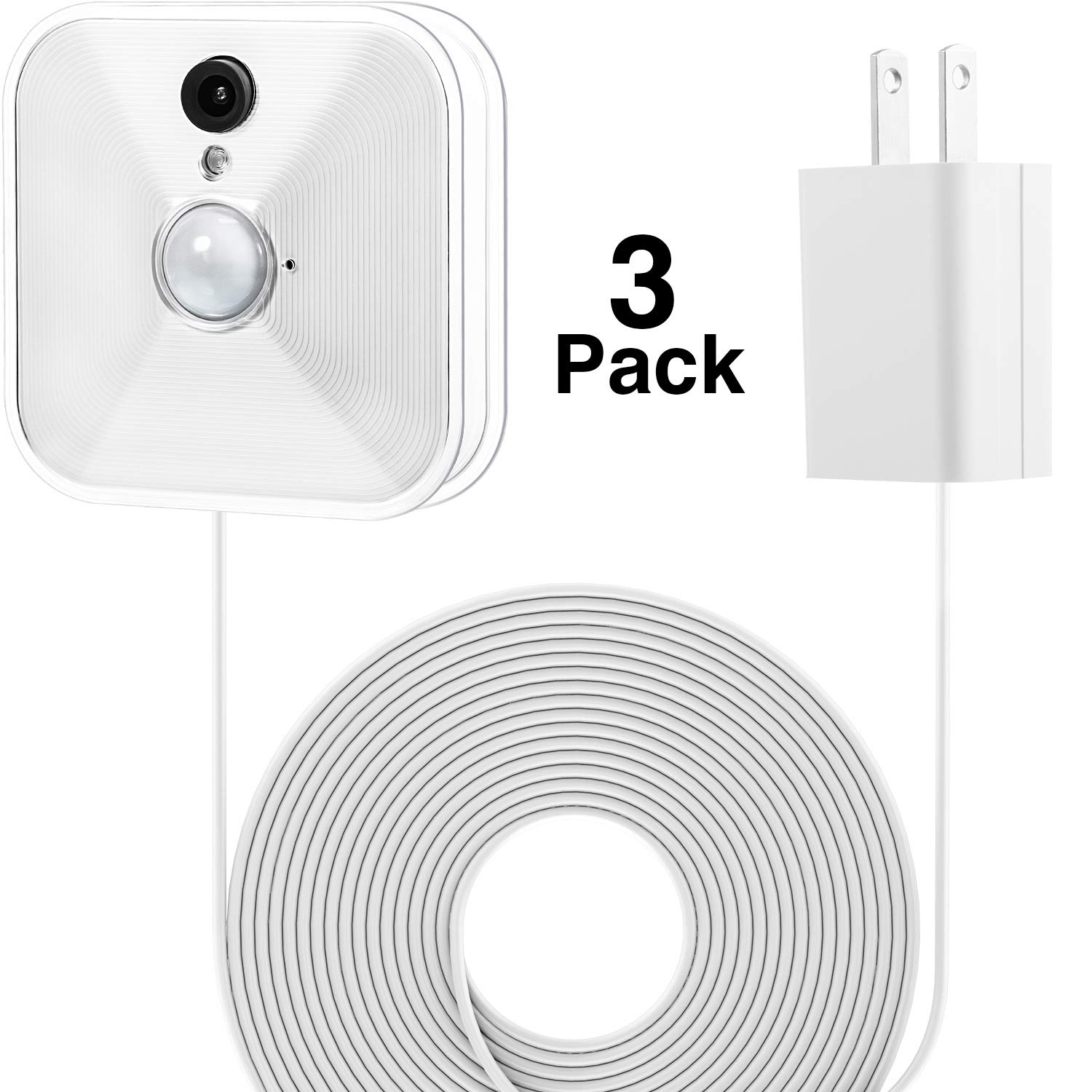 Power Adapter with 20 ft/6 m Weatherproof Cable for Blink Outdoor XT XT2/Indoor Home Security Camera, Continuously Operate Blink Security Camera, No Need to Change The Battery (3 Pack White) by BBTO