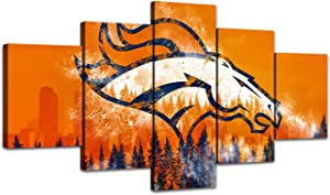 MIAUEN Sports Pictures for Living Room Denver Broncos Wall Decor Canvas Art Posters Paintings Bedroom Home Decorations Framed Artwork Ready to Hang(60''Wx32''H)