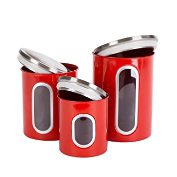 Great Thrich Airtight Multi Purpose Kitchen Canisters With Fingerprint Resistance  Stainless Steel Lid, Clear Visual