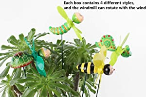 FENDISI Bee Turtle Garden Stakes Decorations Outdoor Lawn Decorative Yard Decor Patio Accessories Windmills Ornaments Plastic Gardening Art Mini Insect Christmas Whimsical Gifts (Pack of 4)