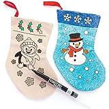 Baker Ross Calcetines navideños de Tela para Colorear (Paquete de 4) Manualidades navideñas Decorativas