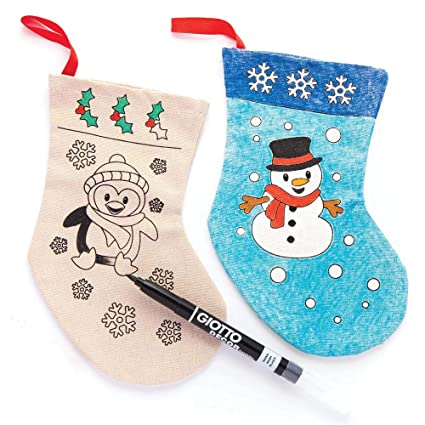 baker ross christmas colour in fabric stockings pack of 4 for kids christmas - Ross Christmas Decorations
