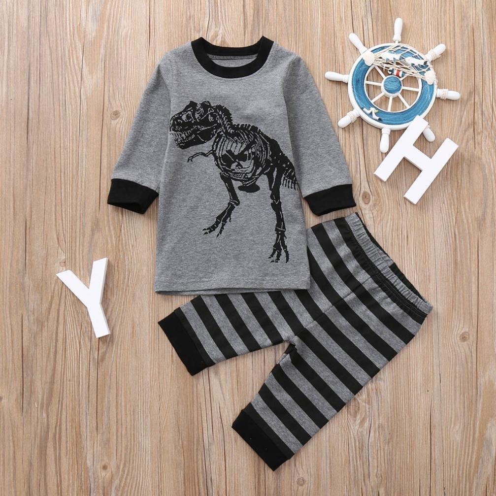 kaiCran Clothing Baby Boy Newborn,Baby Casual Pajamas Dinosaur Print Tops T-Shirt+Striped Pants Sets Outfits Clothes