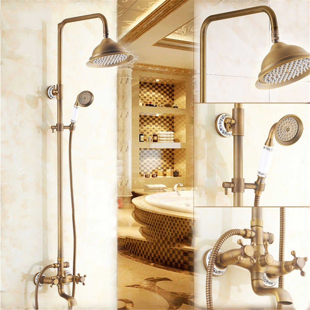 ETERNAL QUALITY Bathroom Sink Basin Tap Brass Mixer Tap Washroom Mixer Faucet All copper retro shower set solid brass antique shower with hot & cold water lift bluee-tiled