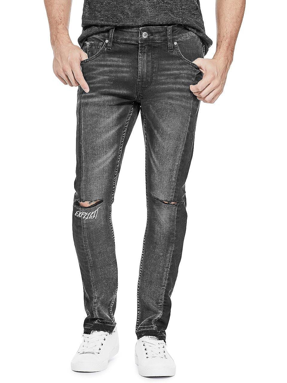 GUESS PANTS メンズ B079JR18JS  Vintage Black W/ Knee Sli 32 / R