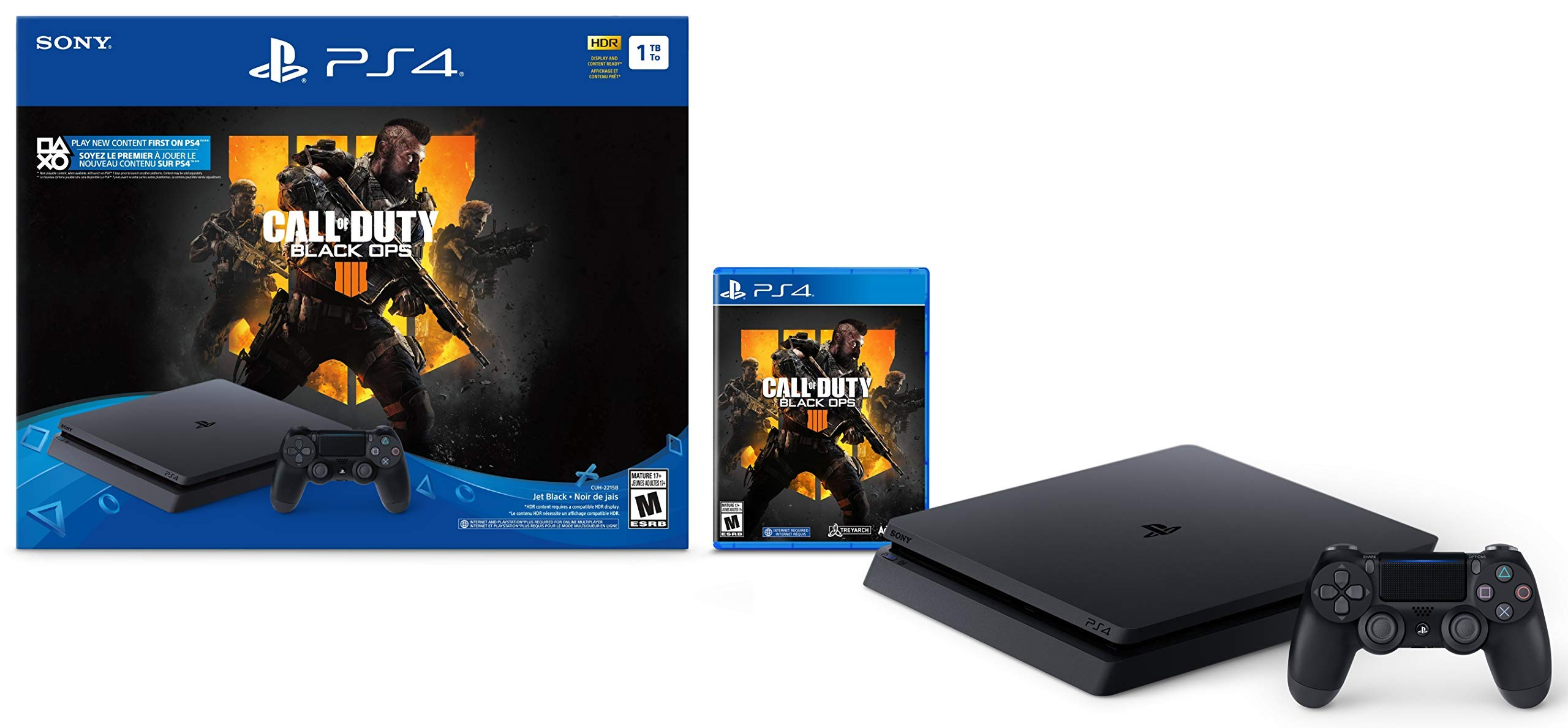 PlayStation 4 Slim 1TB Console - Call of Duty: Black Ops 4 Bundle (Renewed)