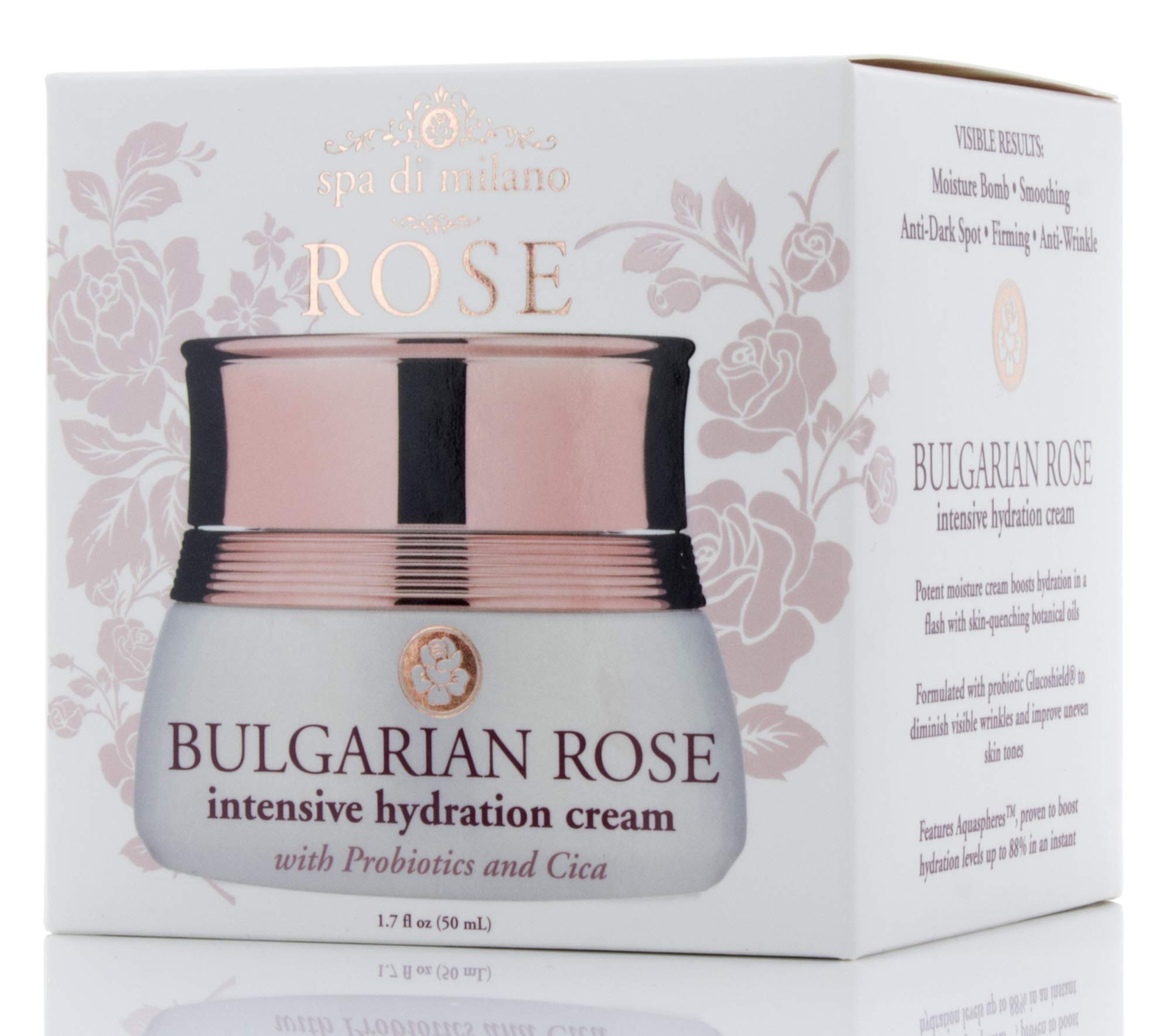 1.7 fl oz Bulgarian Rose Intensive Hydrating Face Cream with Vitamin C, Hyaluronic Acid, Probiotics and Cica. Anti-aging cream for Wrinkles, Dark Spots, Uneven Skin Tone, Dry Skin.
