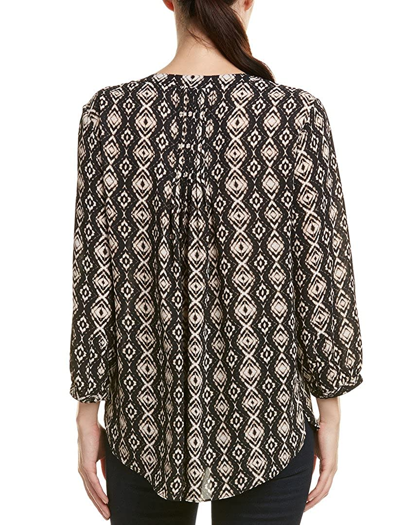 NYDJ Womens 3//4 Sleeve Pintuck Blouse