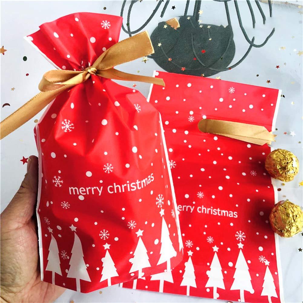 Sacs /à bonbons de no/ël cadeau sacs poches de bijoux avec cordon pour la Fete de Mariage et Bricolage Artisanat 50pcs Sacs /à cordonnet cadeaux Pochette /à Bijoux pour Bonbon Biscuit Chocolat M