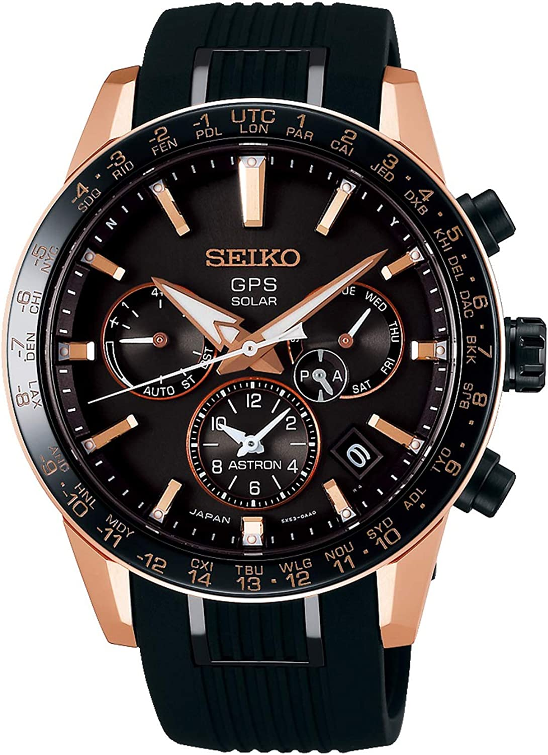 Seiko astron Mens Analog Solar Watch with Silicone Bracelet SSH006J1