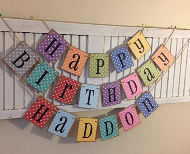 amazon com happy birthday banner personalized name garland sign