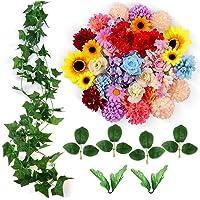 ETEREAUTY Kunstblumen, 47 Stück Deko Blumen mit Rebe und der blätter, ca. Ø 4-5 cm, 5 Sorten Blumen Rose, Sonnenblume, Dahlie, Hortensie, Chrysantheme Perfekte für DIY Geschenk nach Hause