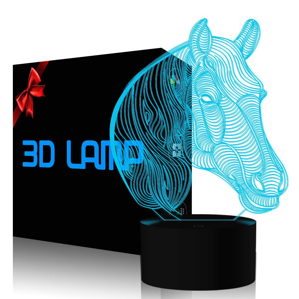 Horse Night Light, YKL WORLD 3D Illusion Desk Table Lamp Nightlight for Kids Smart Touch USB Powered 7 Color Changing Mood Lighting Bedroom Decor Christmas Birthdays Gifts