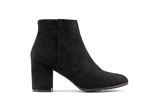 Modelisa - Botín Tacón Ancho Mujer (41, Negro): Amazon.es: Zapatos y complementos