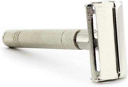 Maquinilla de afeitar de seguridad para hombre de estilo mariposa con apertura de giro Maquinilla de afeitar clásica vintage fabricada en acero inoxidable.