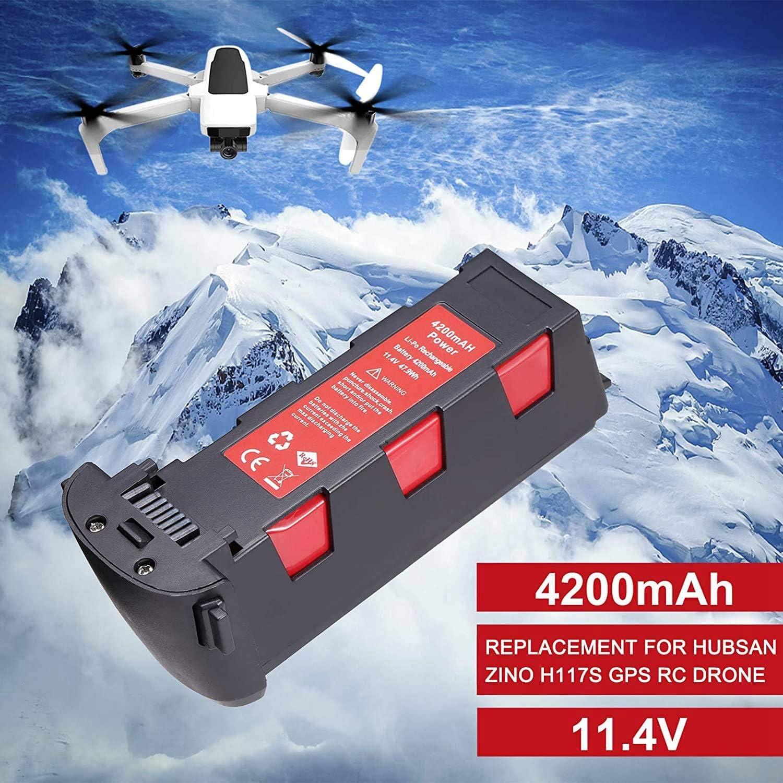 Nrpfell Batteria da 11,4 V 4200 mAh per H117S Zino GPS RC Drone Quadcopter Ricambi Batteria di Volo Intelligente Rosso