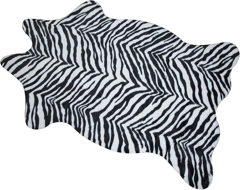 Macevia Zebra Print Western Decor Faux Rug Fur Skin Carpet for Home Animal Print Mat for Living Room Bedroom Jungle Safari Theme Child's Room (3.6ft x 2.4ft)