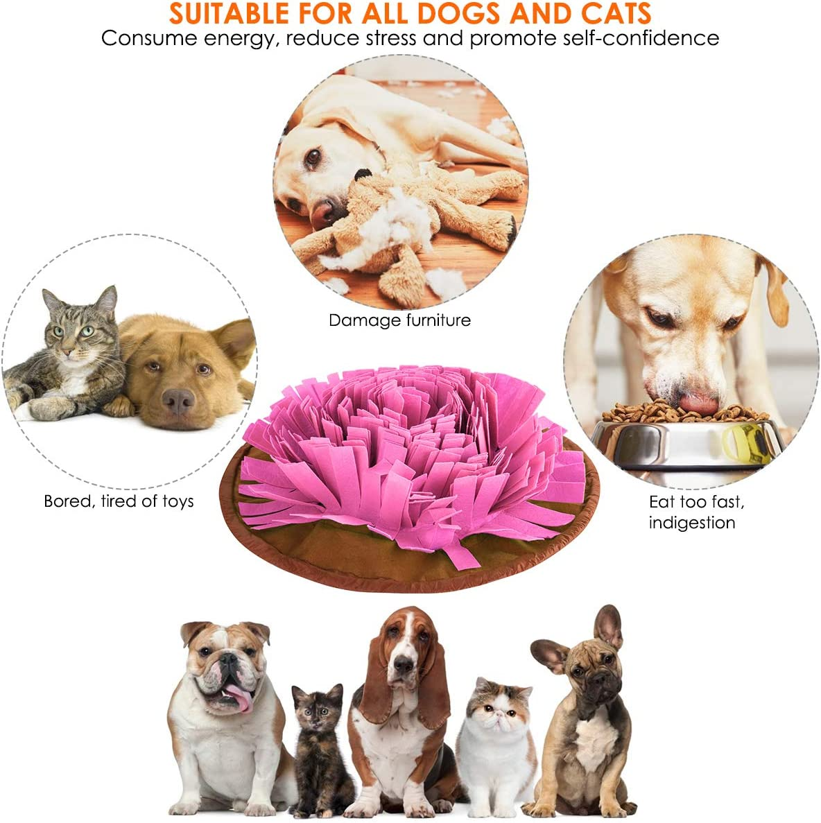 HelloCreate Snuffle Mat Pet Dog Slow Feeding Mat Nosework Foraging Training Interactive Puzzle Treat Mat for Puppy Doggies