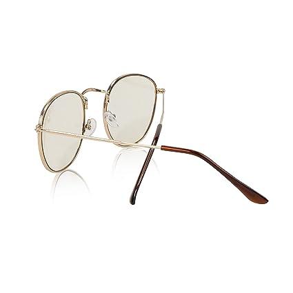 383a5dfce48e6 Amazon.com  Non Prescription Retro Fake Clear Lens Gold Metal Frame  Eyeglasses Woman UV400  Clothing