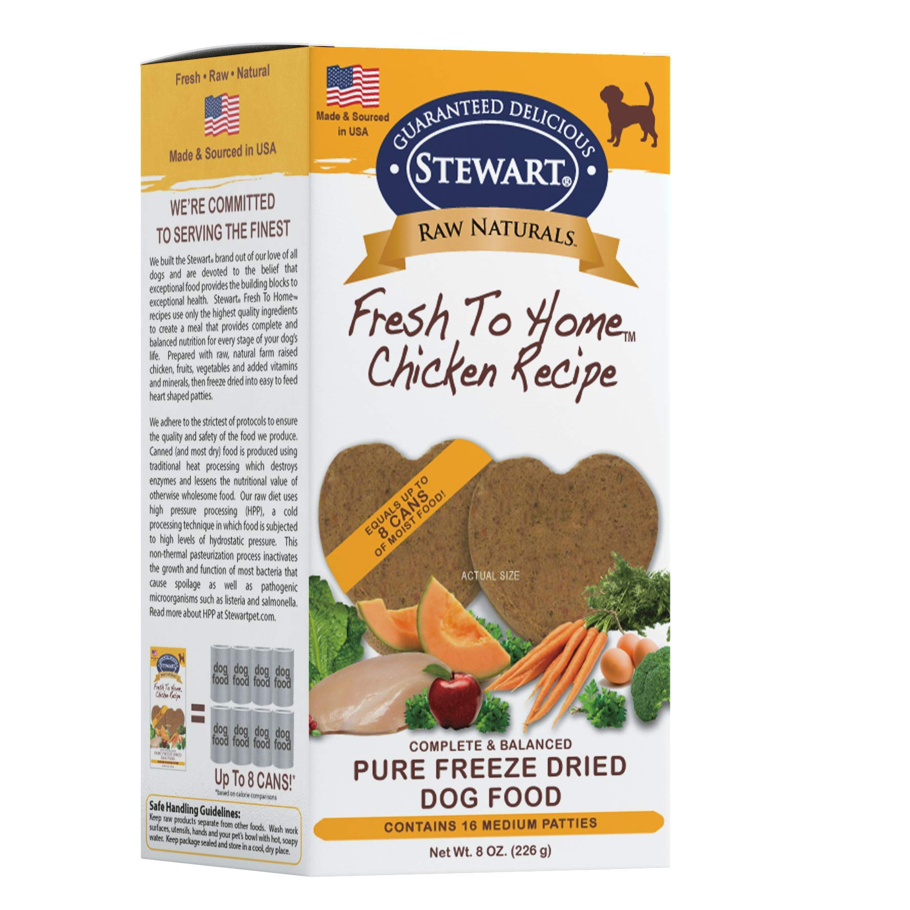 Stewart Raw Naturals Freeze Dried Patties Grain Free Made in USA with Chicken, Fruits, & Vegetables for Fresh To Home All Natural Recipe, Medium by Stewart