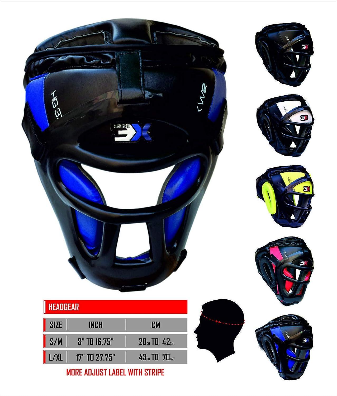 3 x griglia sportiva Head Guard bar Maya Hide sintetico da boxe in pelle Rex MMA Protector copricapo UFC combattimento sparring testa guardia casco (blu, Large/X-Large) 3x sports