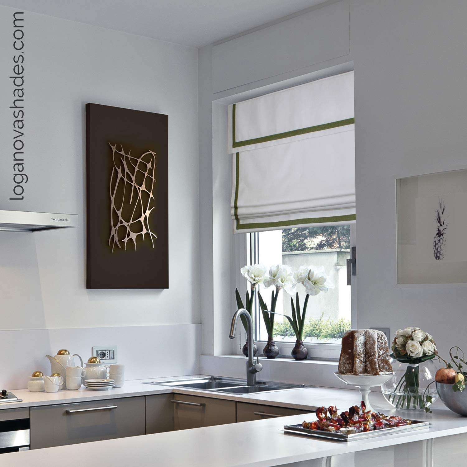 Amazon.com: LOGANOVA Faux Linen Roman Shades For Kitchen ...