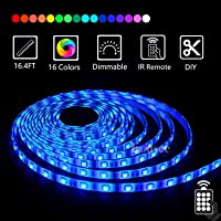 LED Strip Light Kit Waterproof 150 LEDs 5050 SMD RGB 5M 16.4ft Strips Lighting Flexible Color Changing with 44 Keys Remote Controller and 12V Power Supply