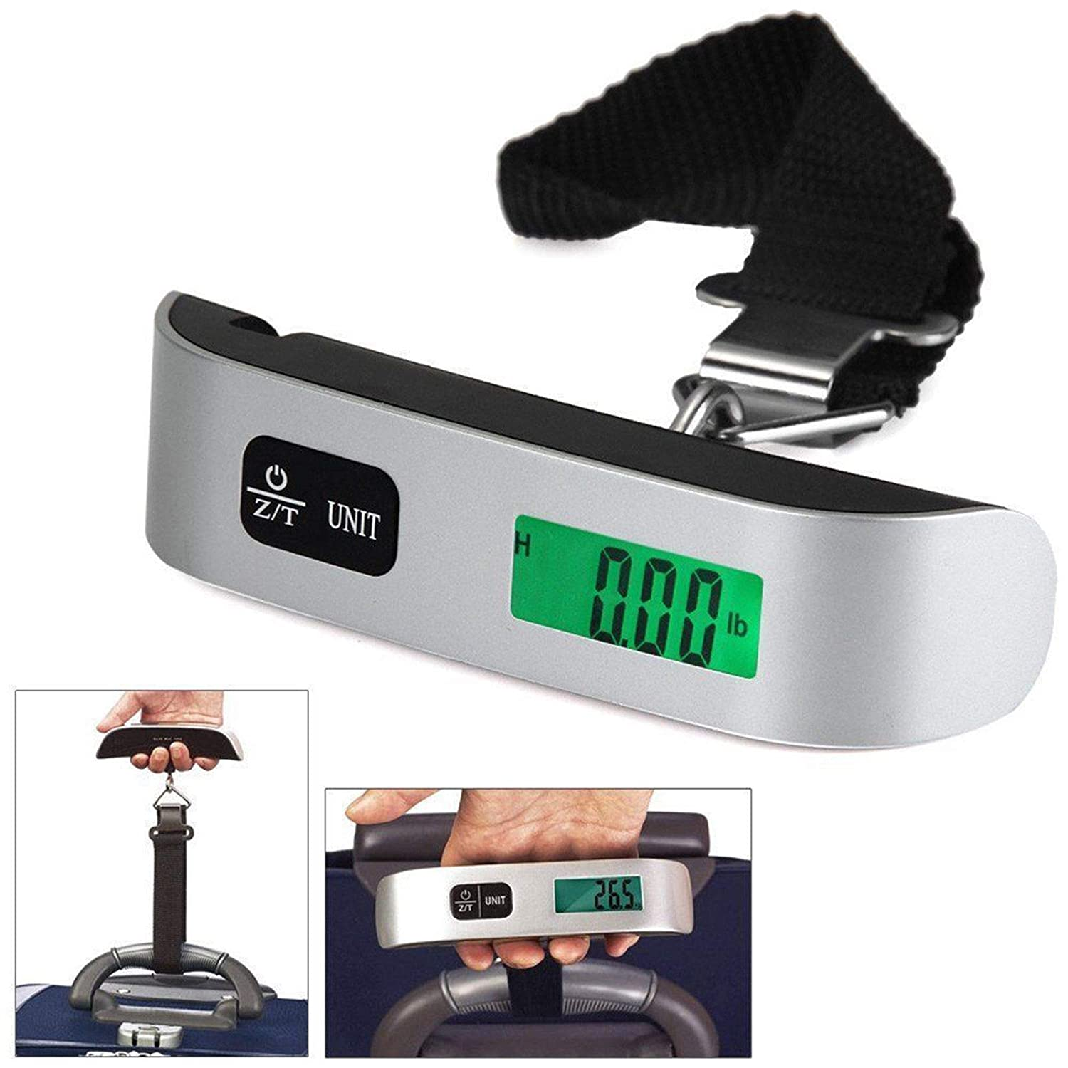 Portable LCD Digital Hanging Luggage Scale, 110 Lbs Max Weight Travel Electronic Hook with Temperature Sensor