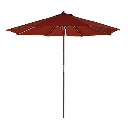 798690286a California Umbrella 9-Feet Polyester Pulley Lift System Wood Market  Umbrella, Brick Red