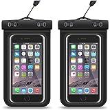 『2枚入』iPhone7 plus 防水ケース HEYSTOPスマホ防水ケース 携帯カバー ポーチ 袋 透明パック iPhoneとAndroid 6インチ以下全機種対応 ネックストラップ付属 IPX8認定 お風呂 海 ダイビング 温泉 水泳 お釣りなど適 iPhone7/6/6s/5/5s/Xperiaなどに対応 最大6インチiphone7 plus/6 plus等 (ブラック 2枚)