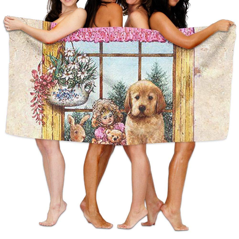 ZMLSJY Bath Towel Dog in The Window Large Bath Towel High Absorbency for Home Hotel Spa 30 X 56 Inches