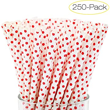 MKHS 250-Pack Biodegradable Paper Straws Red Spot Bulk Drinking Straws for Juices, Shakes, Smoothies, Party Supplies, Birthday, Baby Shower Decorations, 7.8 Inches Long for 20oz Tumblers