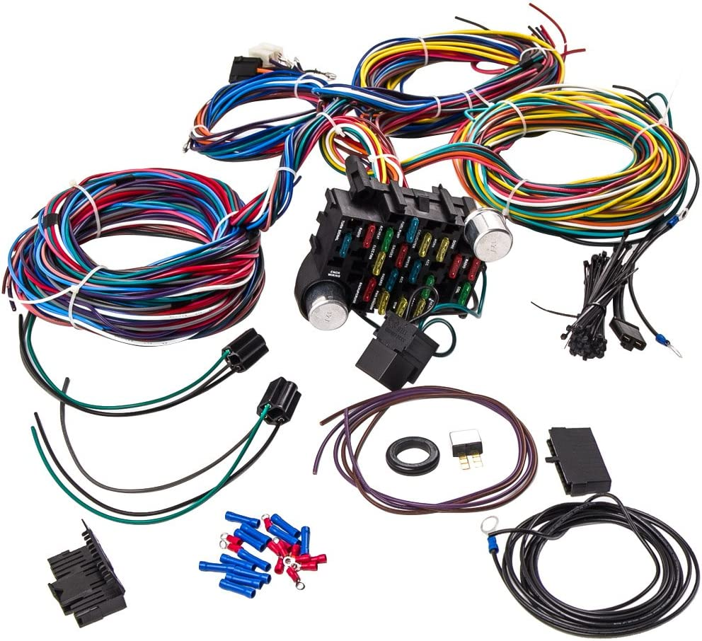 Amazon.com: 21 Circuit Wiring Harness 17 fuse for Hot rod ... on wire fire, wire electrical, wire code, wire copper, wire metal, wire car, wire machine, wire way, wire light, wire lighting, wire resistance, wire track, wire graphic, wire coil, wire cross, wire design, wire ring, wire harness drawing, wire generator to breaker box, wire switch,