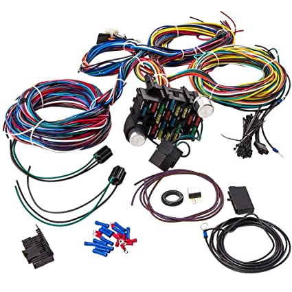 Amazon.com: maXdingrods 21 Circuit 17 Fuses Wiring Harness for ... on chevy warning sticker, chevy alternator harness, chevy wiring horn, chevy clutch assembly, chevy 1500 wireing harness color codes, chevy rear diff, chevy battery terminal, chevy front fender, chevy speaker wiring, chevy radiator cap, chevy wheel cylinders, chevy fan motor, chevy wiring schematics, chevy relay switch, chevy speaker harness, chevy crossmember, chevy power socket, chevy wiring connectors, chevy clutch line, chevy abs unit,
