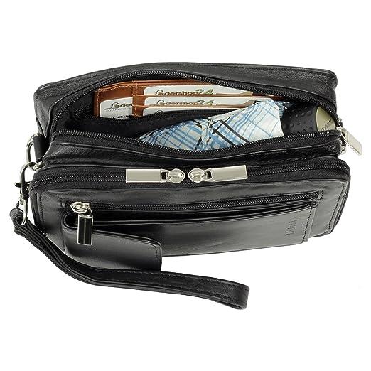 c50d789caf006 Luxus Herren Handgelenktasche Business Tasche mit Smartphonefach aus feinem  Nappaleder in Schwarz  Amazon.de  Sport   Freizeit