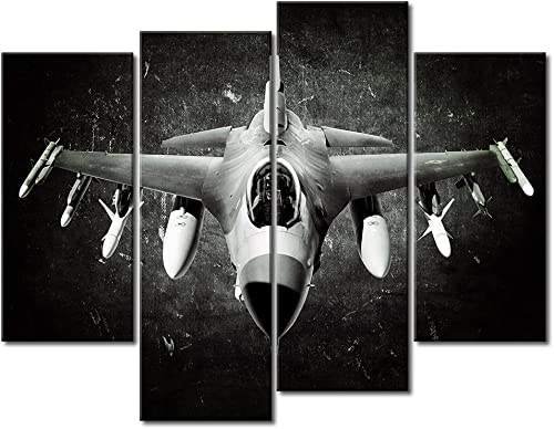 Black and White Bomber Plane Canvas Wall Art Decor Original 4 Panel Set Large Old Aircraft Prints on Canvas Pictures Oil Paintings For Home Decor Kitchen Office and Living Room Ready to Hang