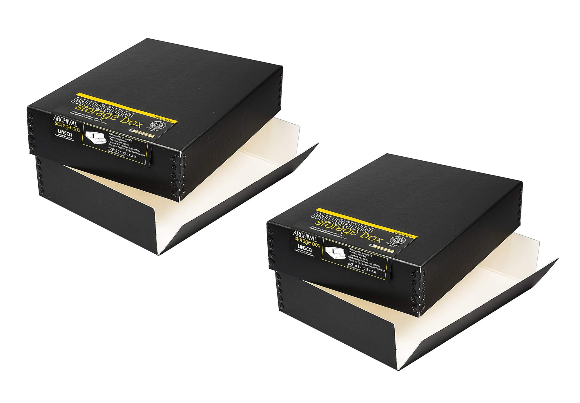 Lineco, Museum Storage Box - Pack of 2 - Holds 9x12 Documents, Pictures, Prints - Archival Quality - Acid Free, Lignin Free - Drop Front, Easy Access - 9.5 x 12.5 x 3 inches