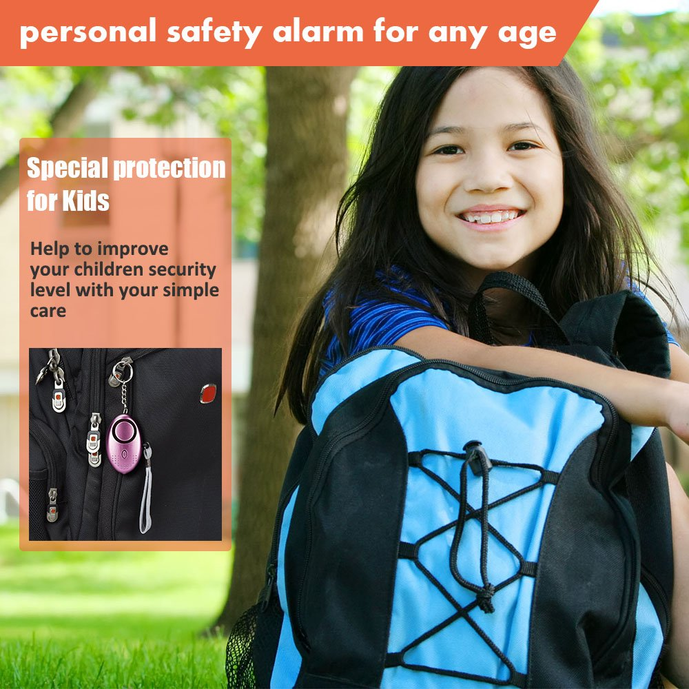 Emergency Personal Alarm 130 dB Self-Defense for Women Kids Girls Elderly - Your First Line of Self-defense (2 Pieces Purple and Gold)