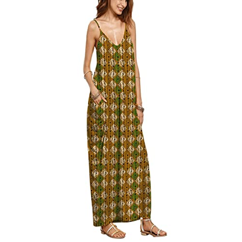 Playa vestido, las mujeres cuello de pico verano Casual Loose tiras en forma de larga